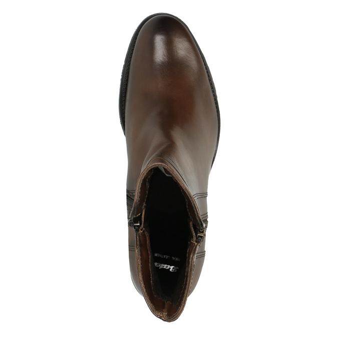 Buty ze skóry za kostkę z suwakami bata, brązowy, 694-4600 - 19