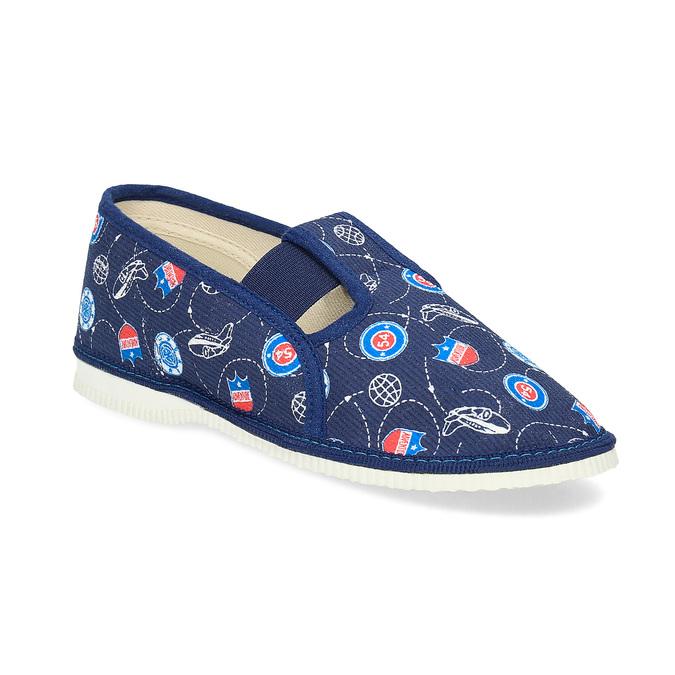 Granatowe wzorzyste kapcie dziecięce bata, niebieski, 379-9012 - 13