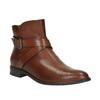 Buty ze skóry za kostkę z klamrą bata, brązowy, 594-4602 - 13