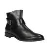 Buty ze skóry za kostkę z klamrą bata, czarny, 594-6602 - 13