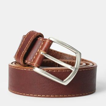 Męski pasek z przeszyciami bata, brązowy, 954-4147 - 13