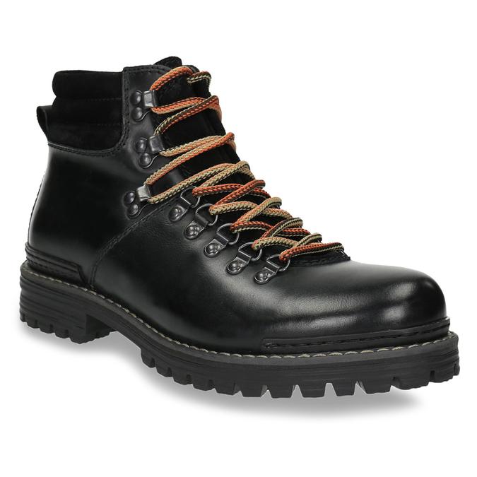 Skórzane buty z oryginalnym sznurowaniem bata, czarny, 894-6180 - 13