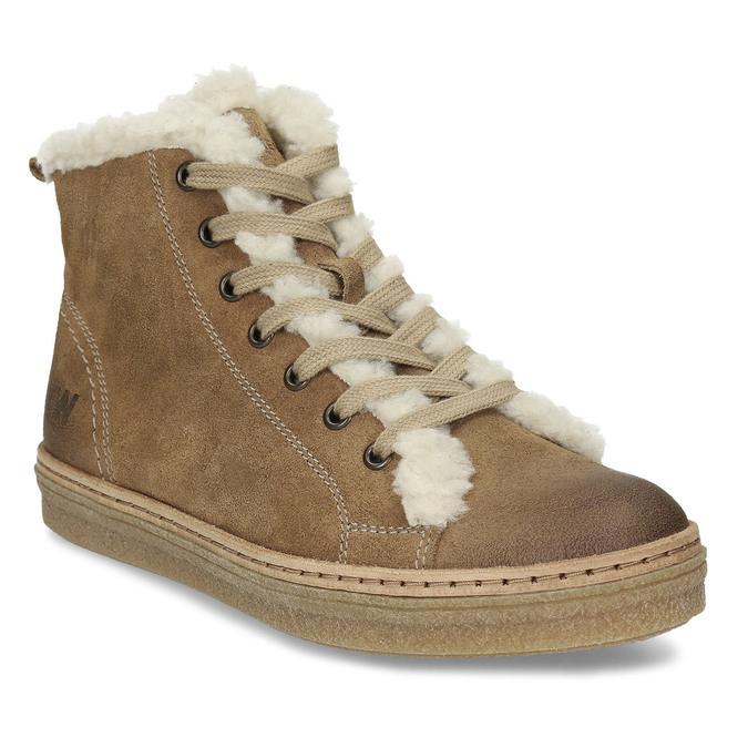 Skórzane buty sportowe do kostki z futerkiem weinbrenner, brązowy, 596-8627 - 13