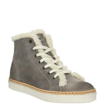 Skórzane buty sportowe do kostki z futerkiem weinbrenner, szary, 596-2627 - 13