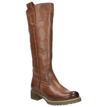 Brązowe kozaki ze skóry bata, brązowy, 594-4613 - 13