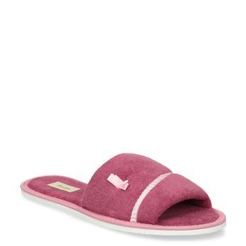 Kapcie damskie zkokardką bata, różowy, 579-5609 - 13