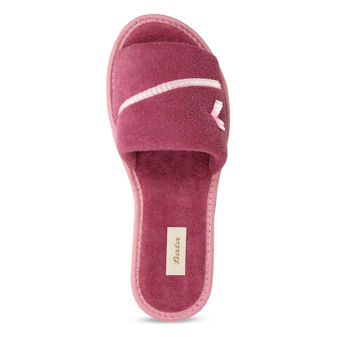 Kapcie damskie zkokardką bata, różowy, 579-5609 - 17
