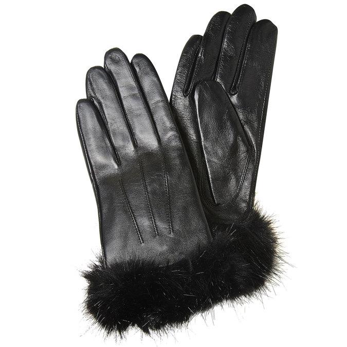 Skórzane rękawiczki damskie bata, czarny, 904-6126 - 13