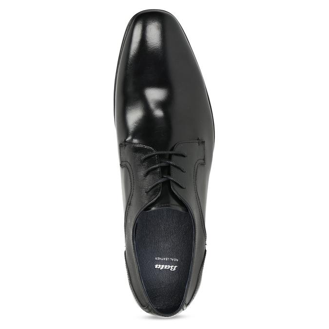 Czarne skórzane półbuty męskie bata, czarny, 824-6758 - 17