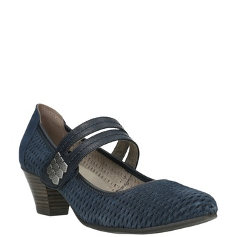 Niebieskie skórzane czółenka oszerokościH bata, niebieski, 623-9600 - 13
