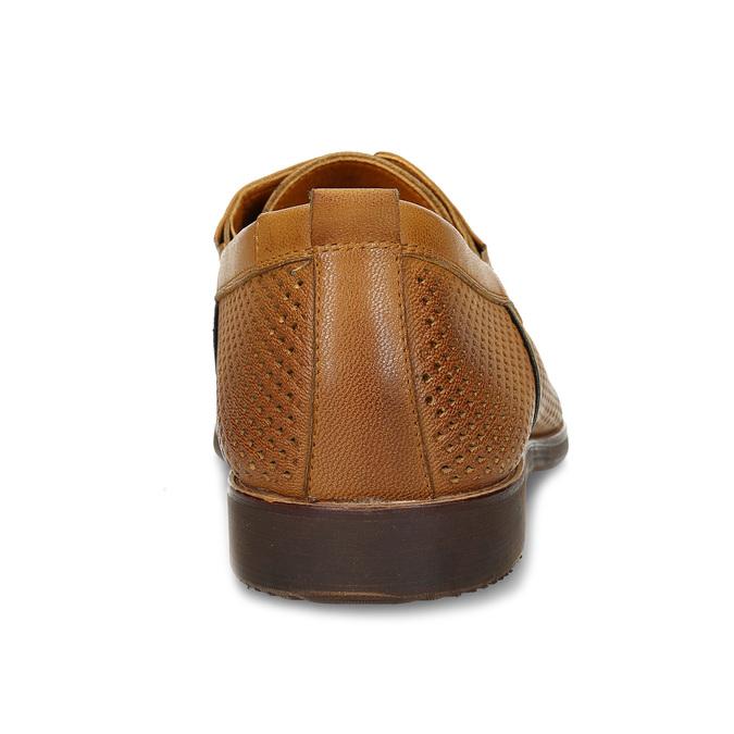 Nieformalne skórzane półbuty zperforacją bata, brązowy, 856-3601 - 15