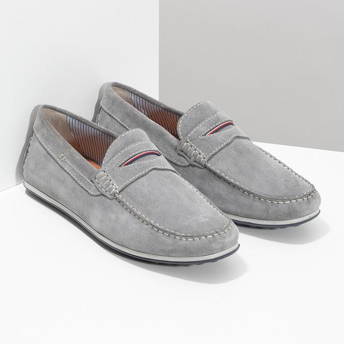Zamszowe mokasyny męskie bata, szary, 853-2614 - 26