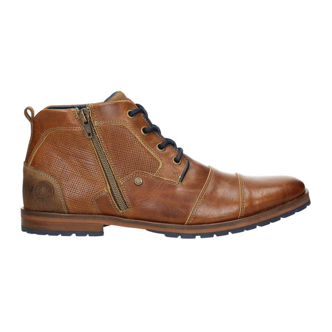 Skórzane buty za kostkę zzamkami bata, brązowy, 826-3911 - 15
