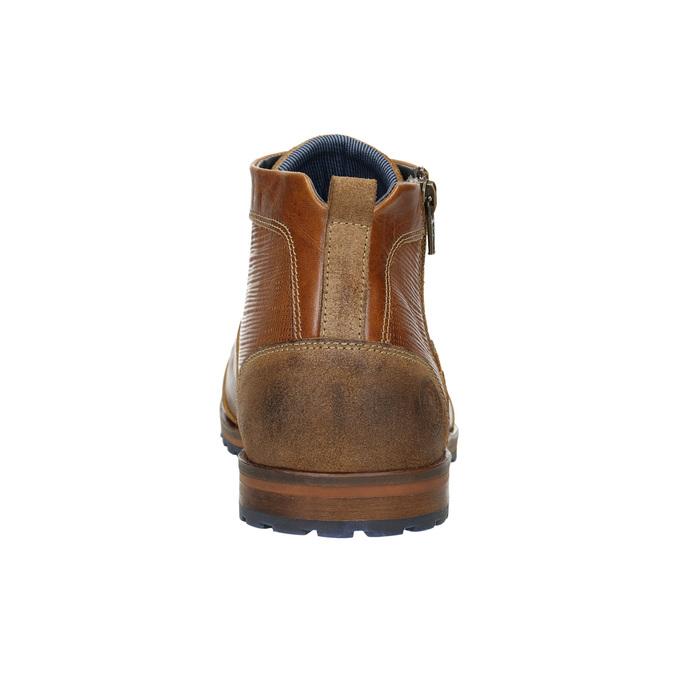 Skórzane buty za kostkę zzamkami bata, brązowy, 826-3911 - 17