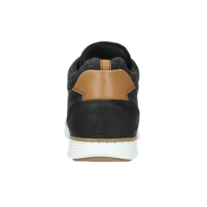 Skórzane trampki męskie za kostkę bata, czarny, 846-6641 - 17