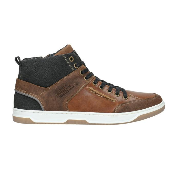Skórzane trampki za kostkę bata, brązowy, 846-3640 - 15