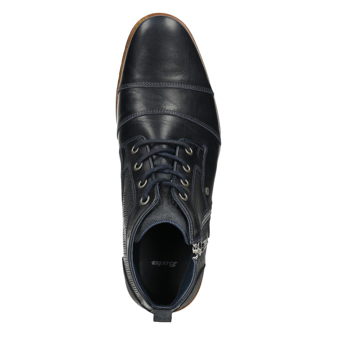 Skórzane buty za kostkę, zzamkami błyskawicznymi bata, niebieski, 826-9911 - 26