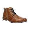 Skórzane buty za kostkę zzamkami bata, brązowy, 826-3911 - 13