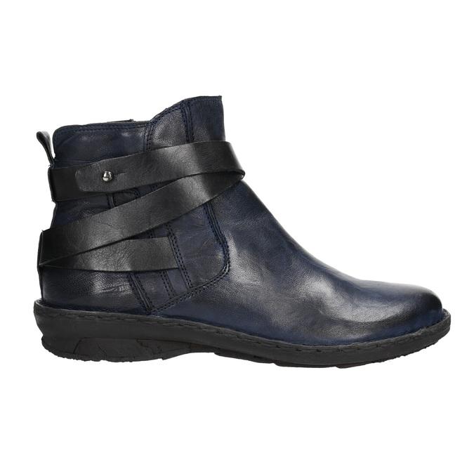 Skórzane kozaki damskie bata, niebieski, 596-9657 - 15