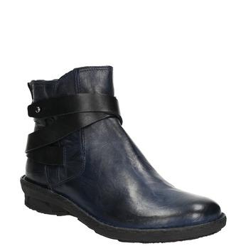 Skórzane kozaki damskie bata, niebieski, 596-9657 - 13