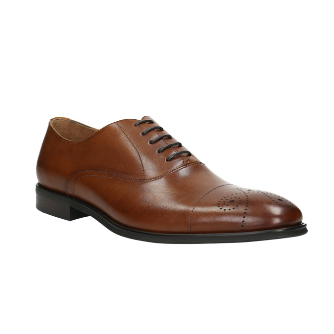 Skórzane półbuty typu oksfordy ze zdobieniami bata, brązowy, 826-3690 - 13