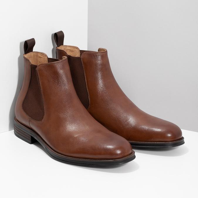 Brązowe skórzane obuwie typu chelsea bata, brązowy, 896-3400 - 26