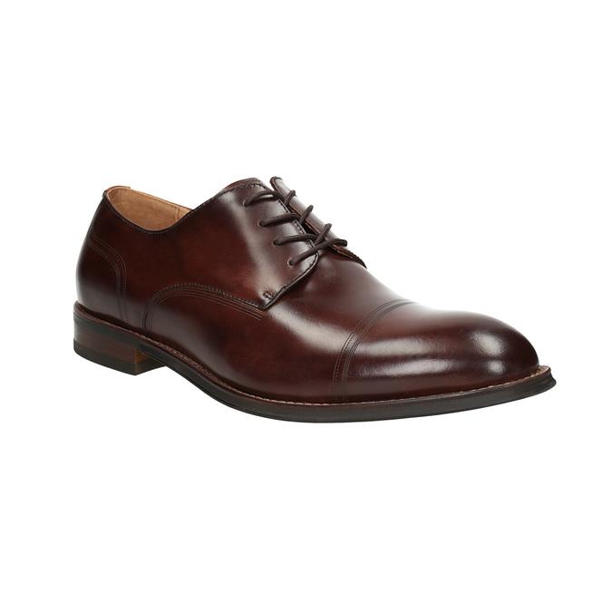 Brązowe skórzane półbuty męskie bata, brązowy, 826-4681 - 13