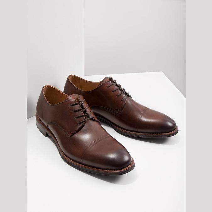Brązowe skórzane półbuty męskie bata, brązowy, 826-4681 - 18
