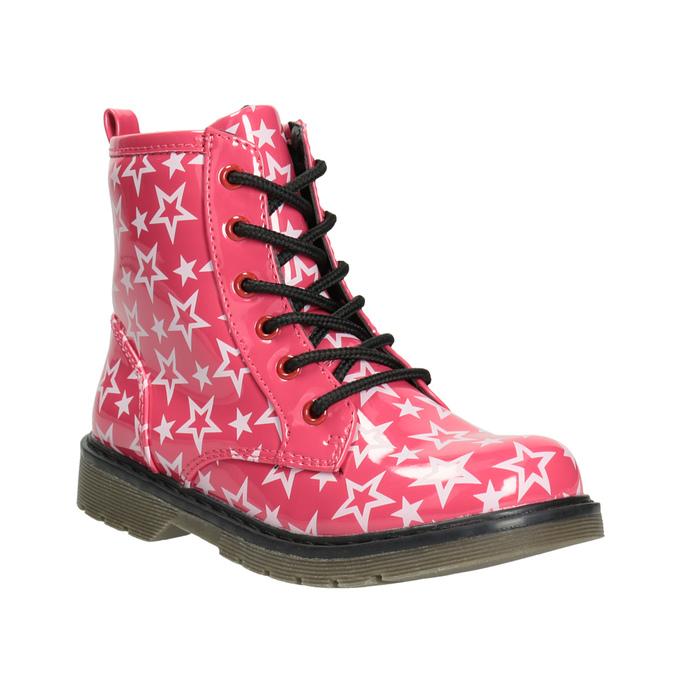 Sznurowane buty dziewczęce w gwiazdki mini-b, różowy, 291-5167 - 13