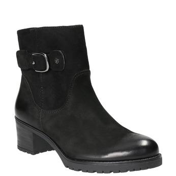 Skórzane botki zklamrami bata, czarny, 696-6621 - 13
