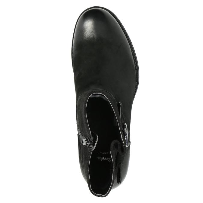 Skórzane botki zklamrami bata, czarny, 696-6621 - 19