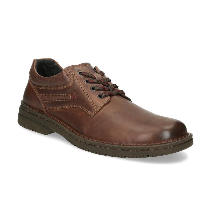 Brązowe nieformalne półbuty ze skóry bata, brązowy, 826-4918 - 13