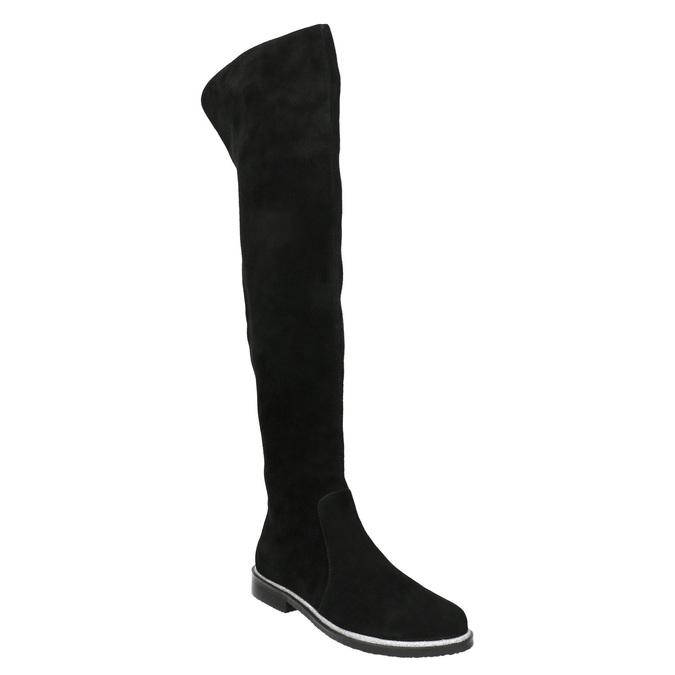 Zamszowe kozaki za kolana bata, czarny, 593-6605 - 13