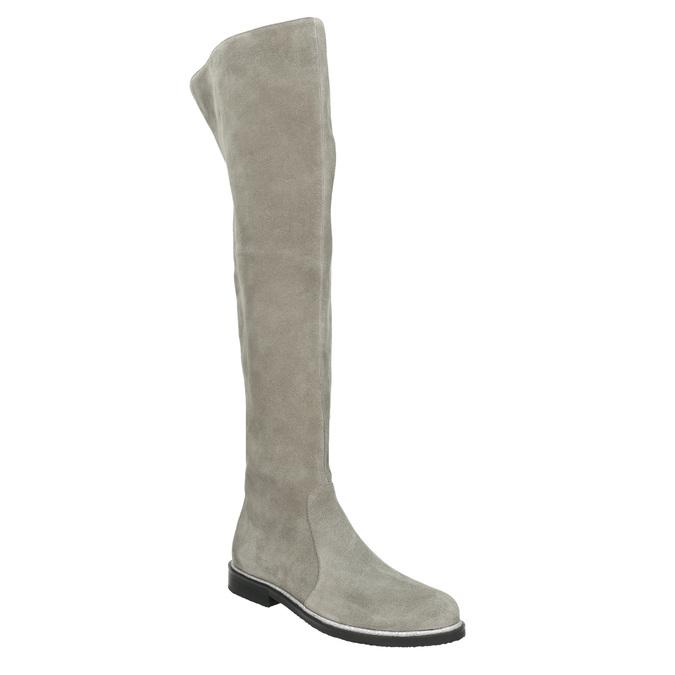 Szare skórzane kozaki za kolana bata, szary, 593-2605 - 13