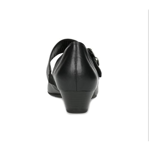 Skórzane baleriny zpaskiem na podbiciu gabor, czarny, 514-6118 - 15