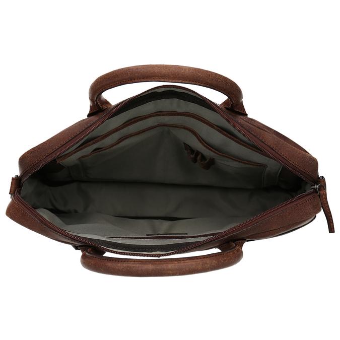 Skórzana torba męska zprzeszyciami bata, brązowy, 964-4139 - 15