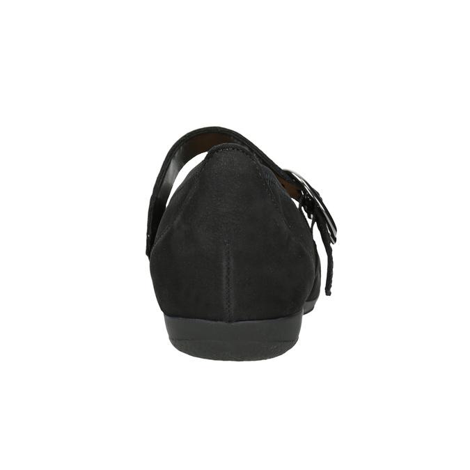 Skórzane baleriny zpaskiem na podbiciu gabor, czarny, 514-6118 - 16