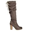 Kozaki damskie zmarszczeniami bata, brązowy, 799-4614 - 15