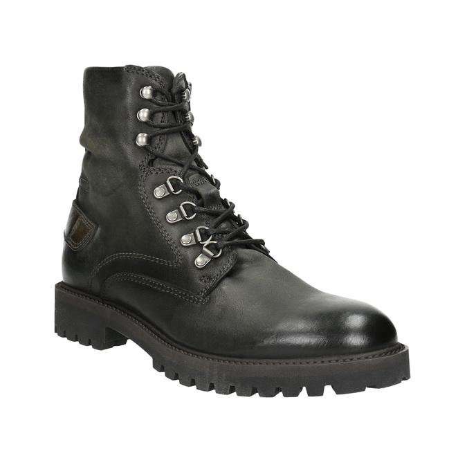 Skórzane obuwie za kostkę bata, szary, 896-2663 - 13