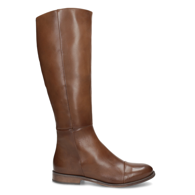 Brązowe skórzane kozaki bata, brązowy, 594-4637 - 19