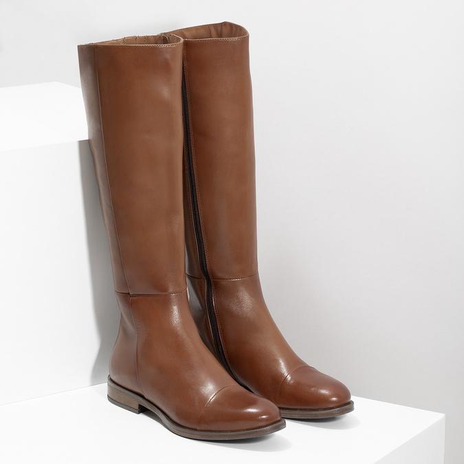 Brązowe skórzane kozaki bata, brązowy, 594-4637 - 26