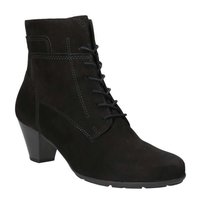 Sznurowane buty ze skóry za kostkę gabor, czarny, 726-6120 - 13