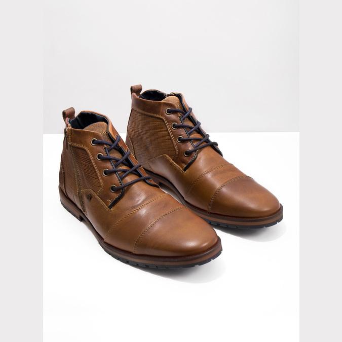 Skórzane buty za kostkę zzamkami bata, brązowy, 826-3911 - 14