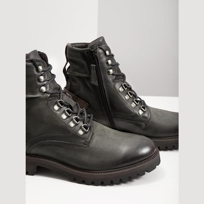Skórzane obuwie za kostkę bata, szary, 896-2663 - 14