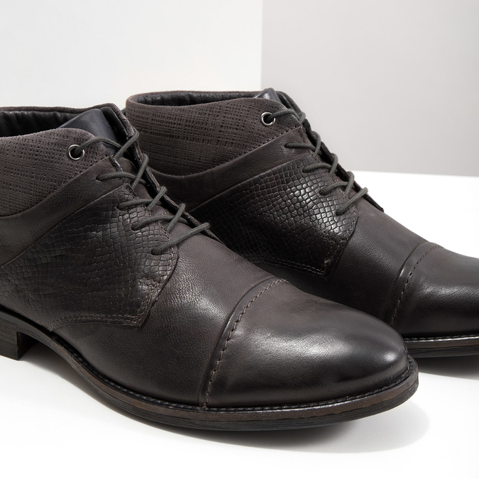 Skórzane buty za kostkę, zfakturą bata, szary, 826-2616 - 14