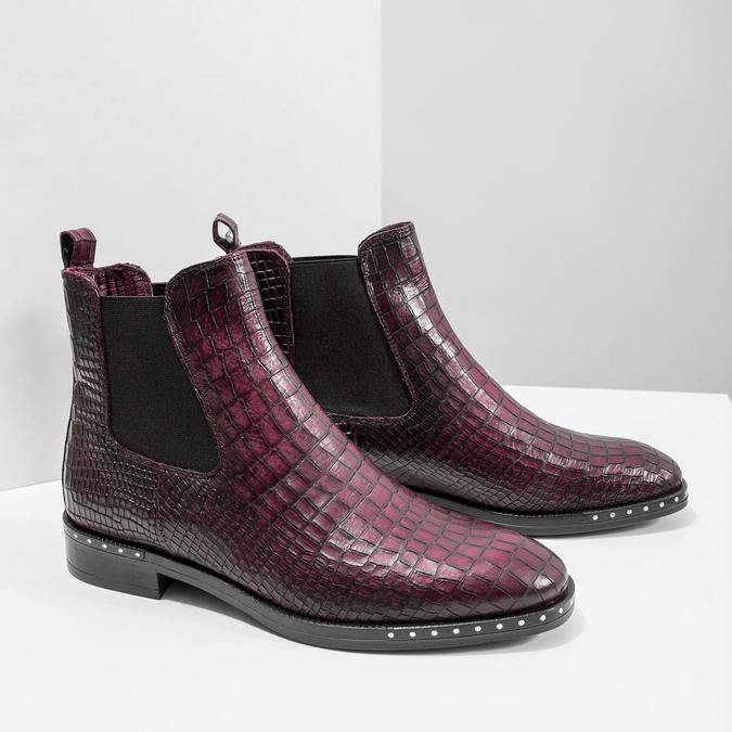 Skórzane obuwie damskie typu chelsea bata, czerwony, 596-5678 - 18