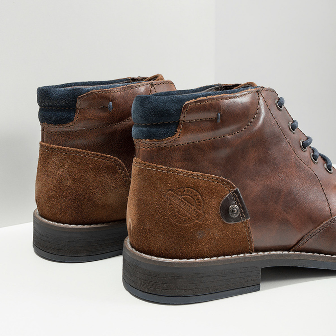 Skórzane buty męskie za kostkę bata, brązowy, 826-3611 - 14