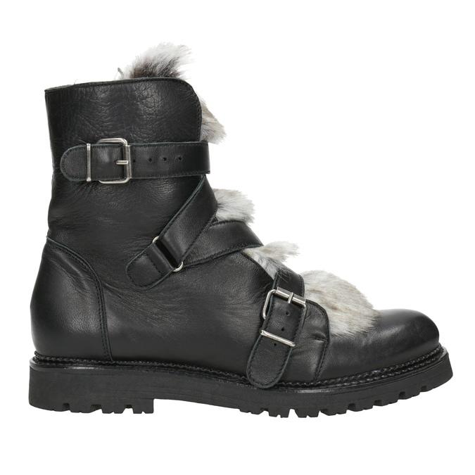 Skórzane botki zfuterkiem bata, czarny, 594-6656 - 26