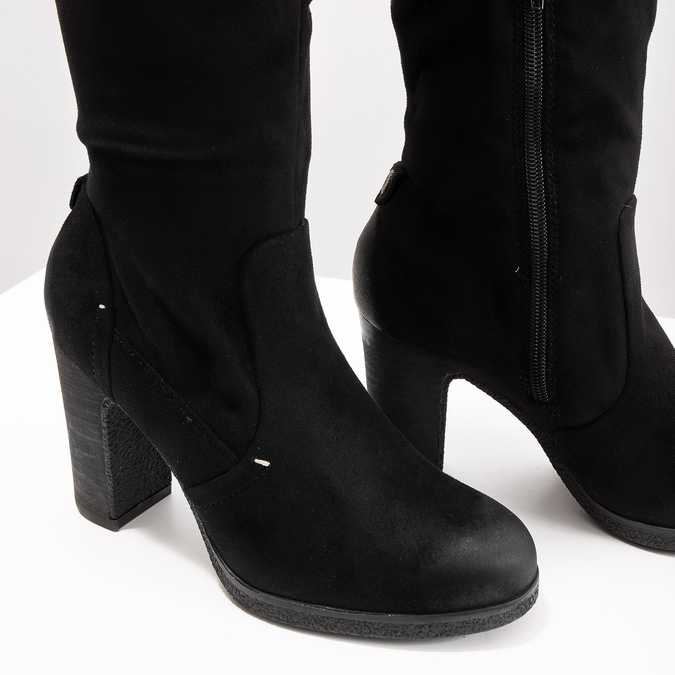 Czarne kozaki damskie na słupkach bata, czarny, 799-6614 - 14