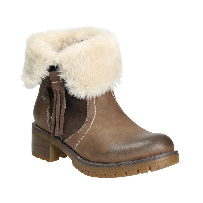 Buty za kostkę z kożuszkiem bata, brązowy, 691-2633 - 13